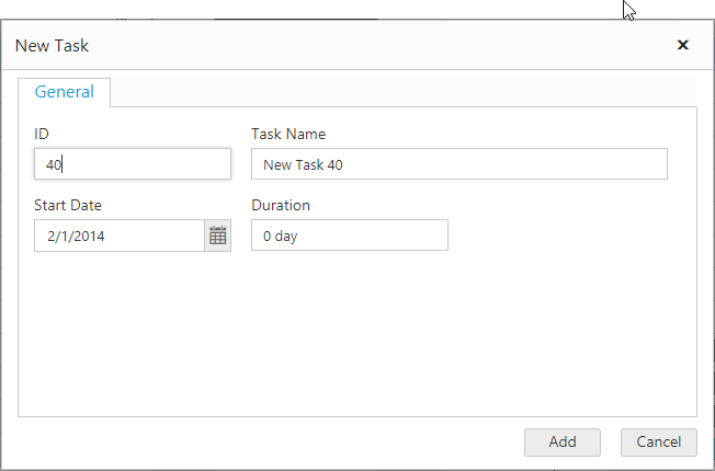 Add dialog window with id, task name, start date and duration fields.