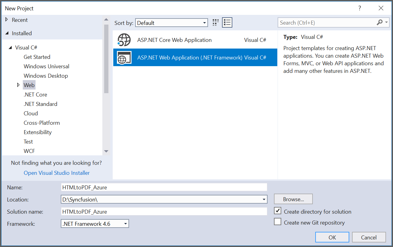 Create a ASP.NET Web application project