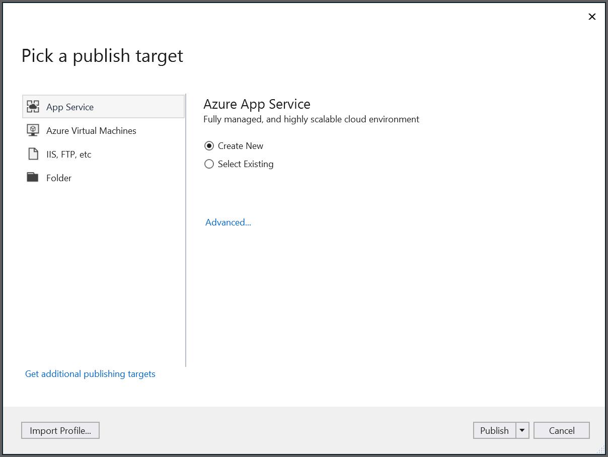 Create new profile in publish window
