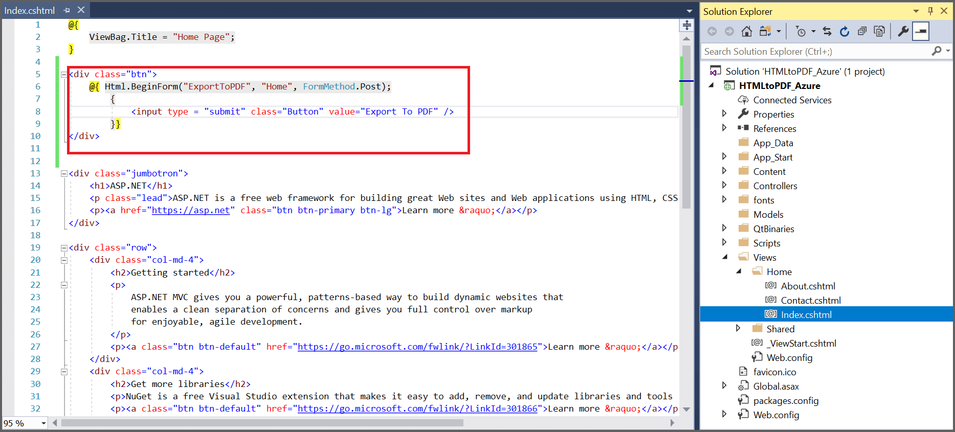 Add code snippet for Export to PDF button