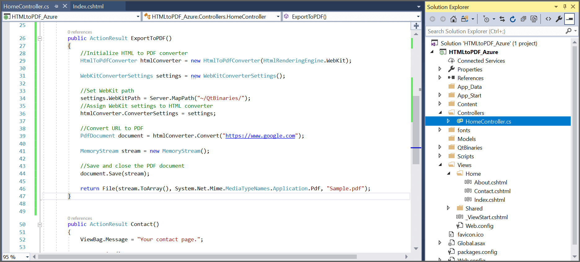 Screen shot for added code snippet