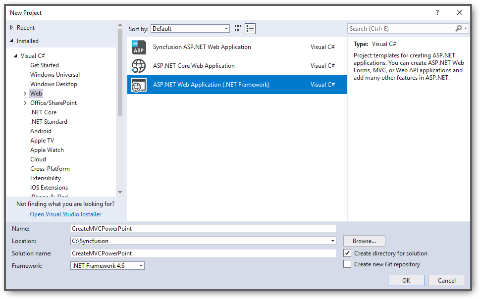Create new ASP.NET application in visual studio