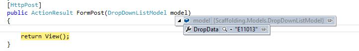Return model value using scaffolding method