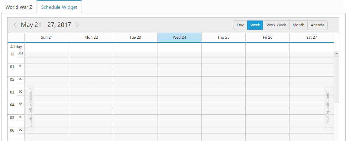 Schedule placed within the Tab control