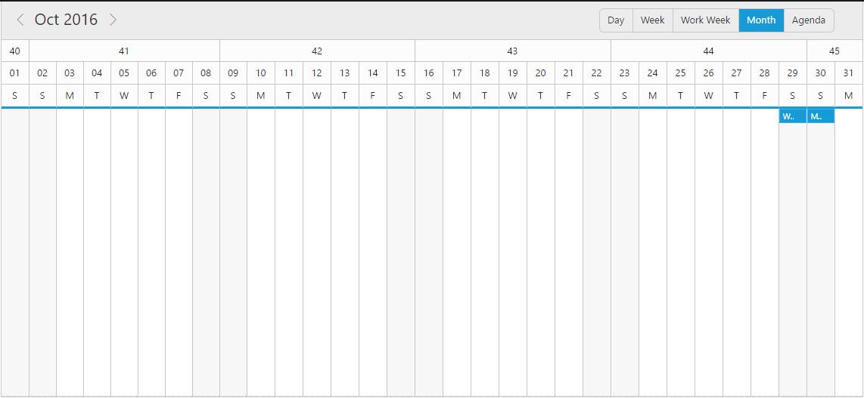 Week number in horizontal month view sample