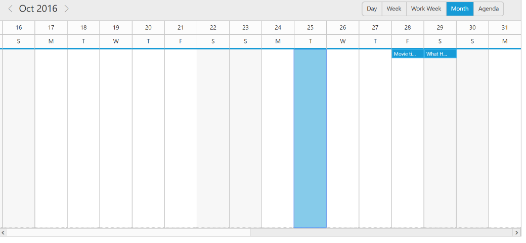 Month view with adjusted horizontal scrollbar