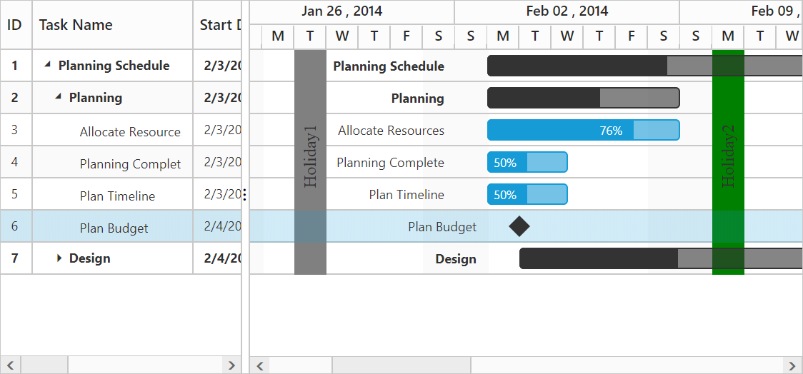 Load holidays from database into Gantt.