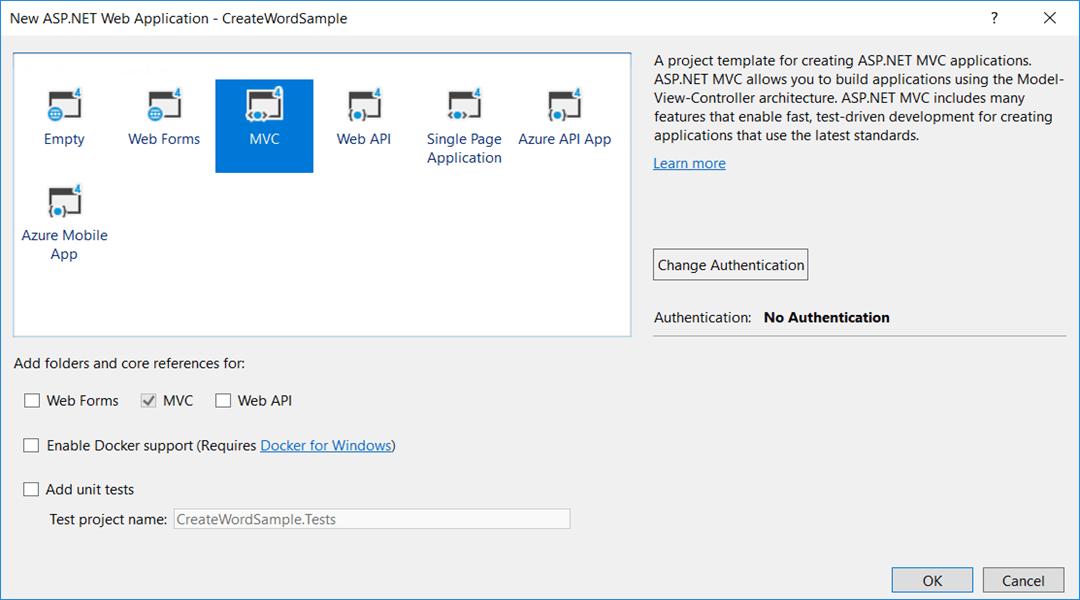 Create ASP.NET MVC application in Visual Studio