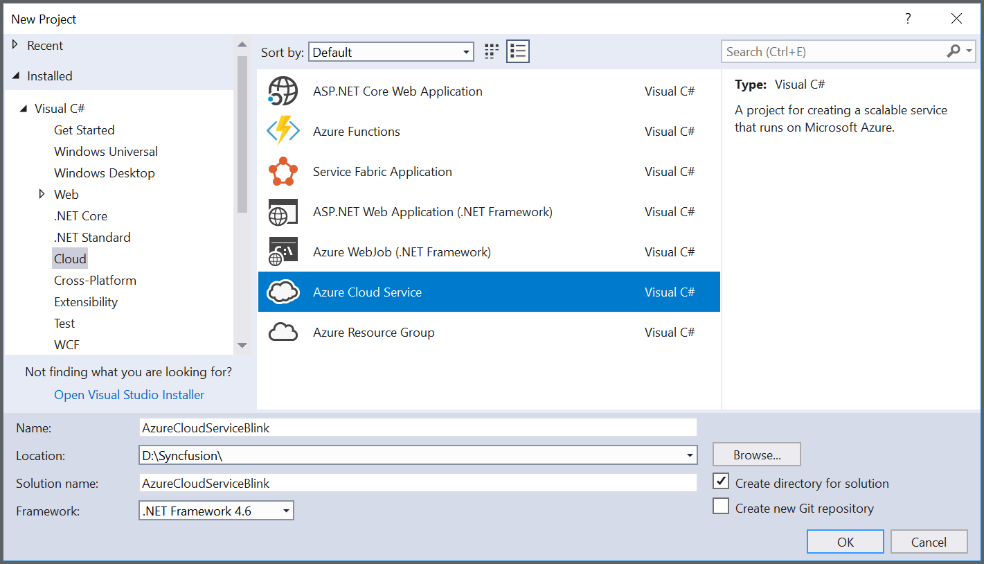 Create Azure Cloud service