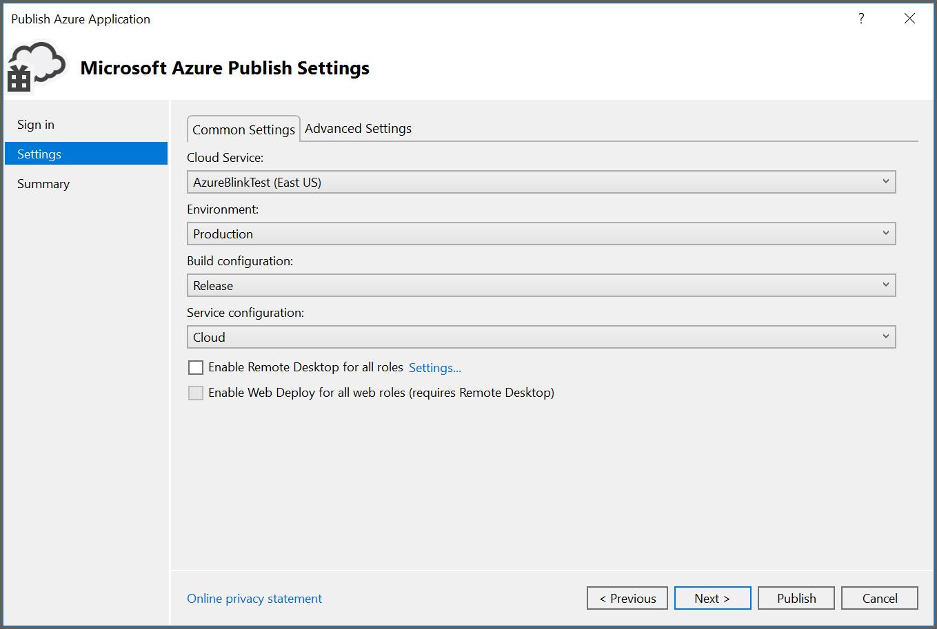 Provide azure settings and publish it.