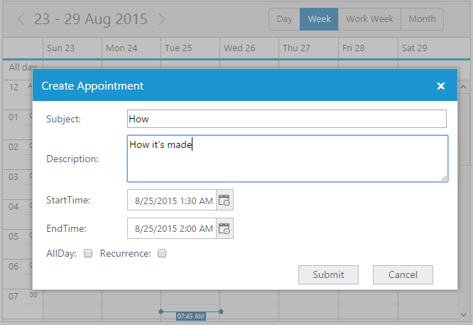Custom appointment form displayed without any error