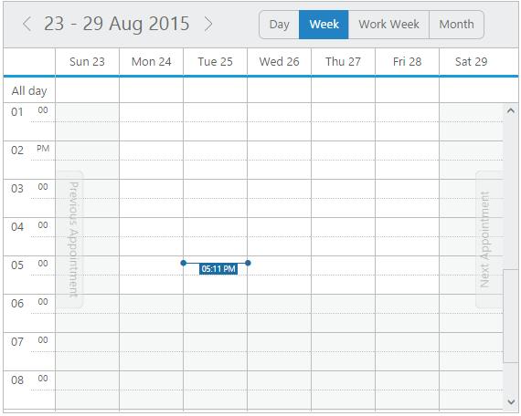 Schedule control display