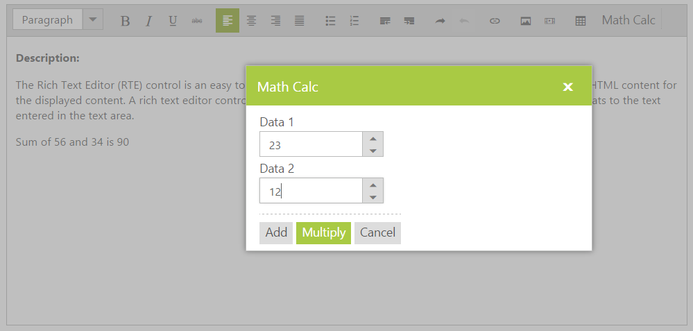 Model Dialog to perform calculations on clicking the CustomTool button