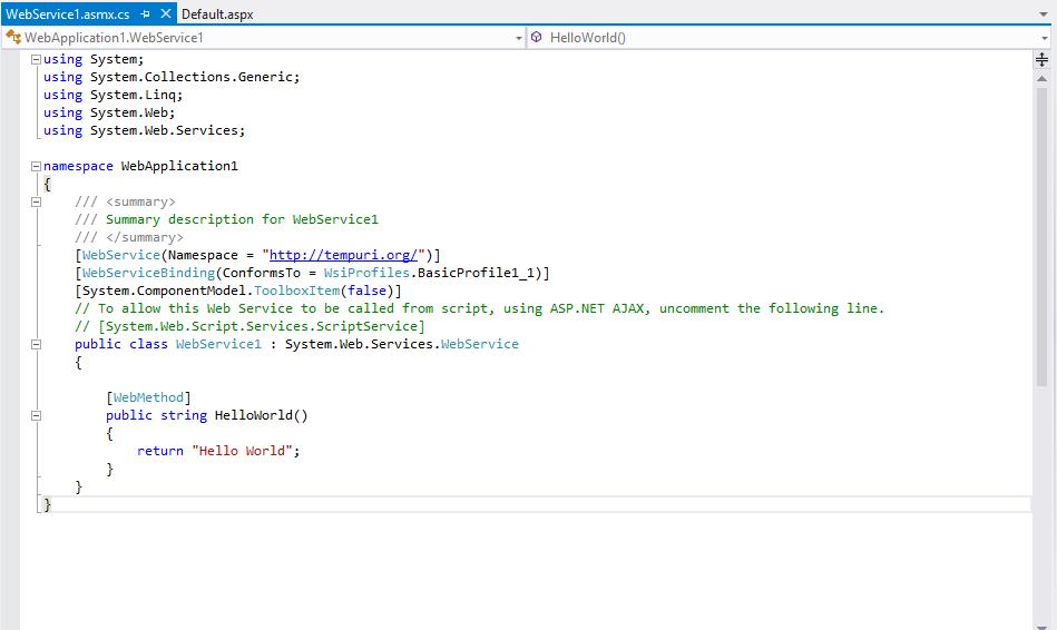 WebService1.asmx.cs/ WebService1.asmx.vb file