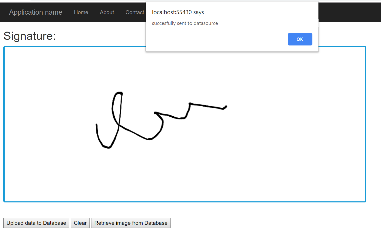 Signature uploaded successfully