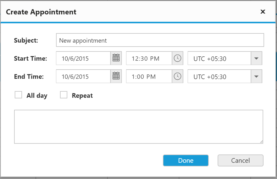 Inserting appointment with a subject 'New appointment' into scheduler