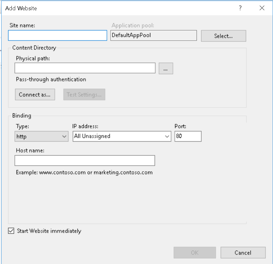IIS - Website settings