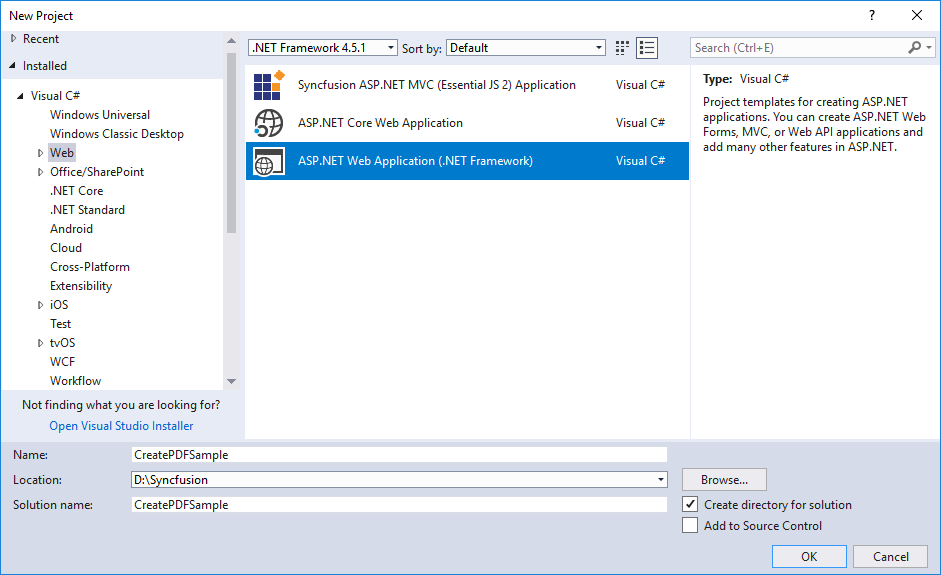 Create ASP.NET Web application in Visual Studio