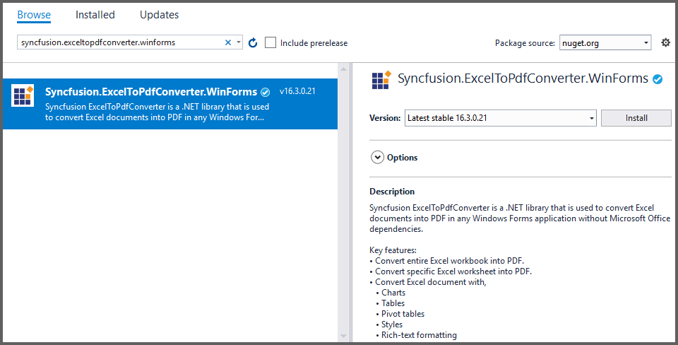 Add ExcelToPdfConverter reference to the project