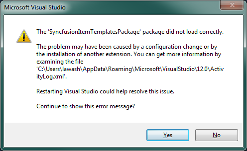 Syncfusion Item Templates extension make warning message while open Visual Studio 2013.