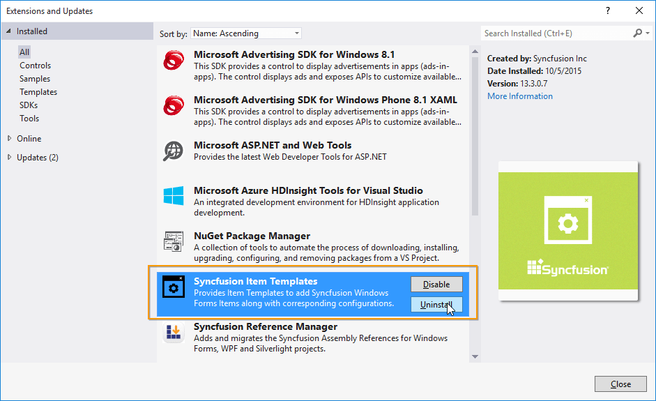 Uninstalling the Syncfusion ItemTemplates VSIX from Visual Studio 2013.