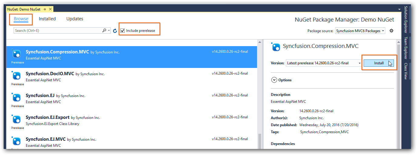 NuGet Package Manager dialog for specific application.