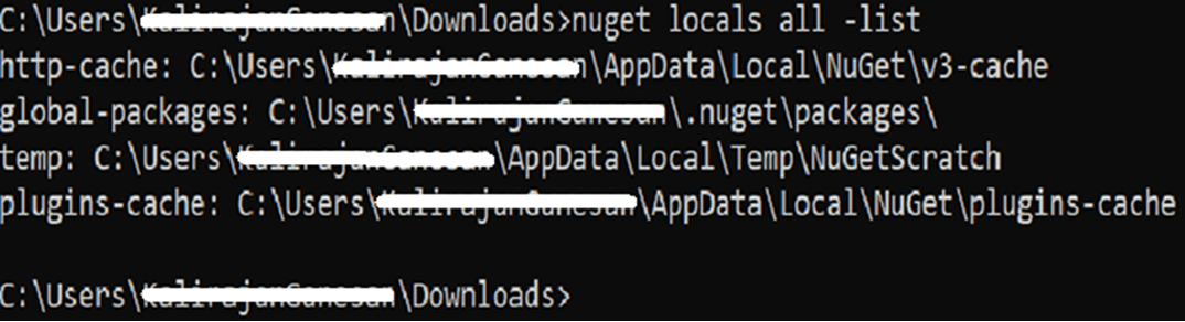 Mac nuget cache location list command