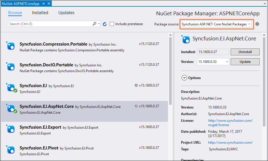 Choose required package source to install required Syncfusion packages.