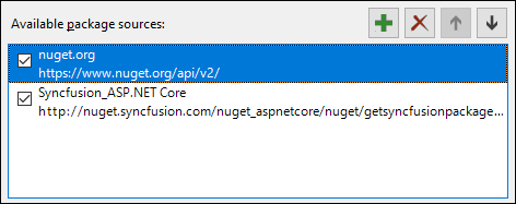Configure the Syncfusion ASP.NET Core NuGet feed and nuget.org in your Visual Studio