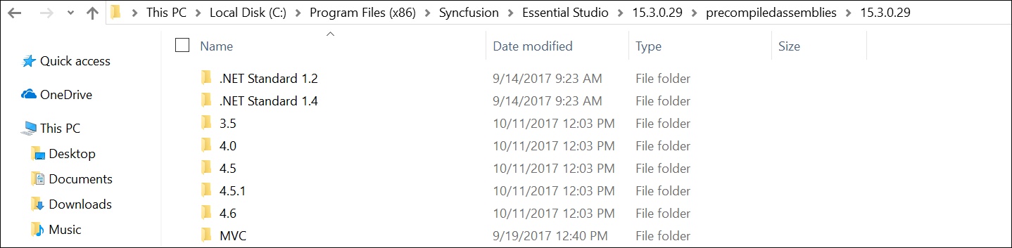 Syncfusion Essential Studio setup installed location