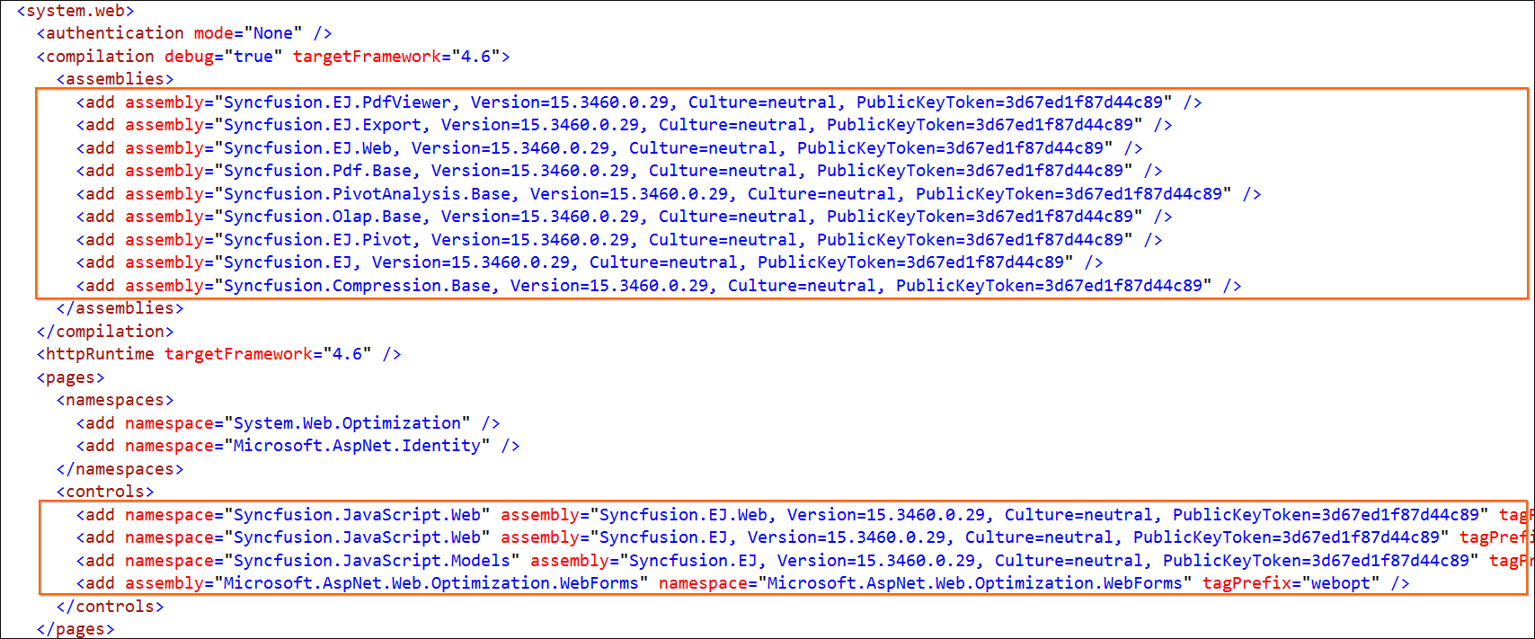 Syncfusion assembly version changes in Web.Config file for MVC