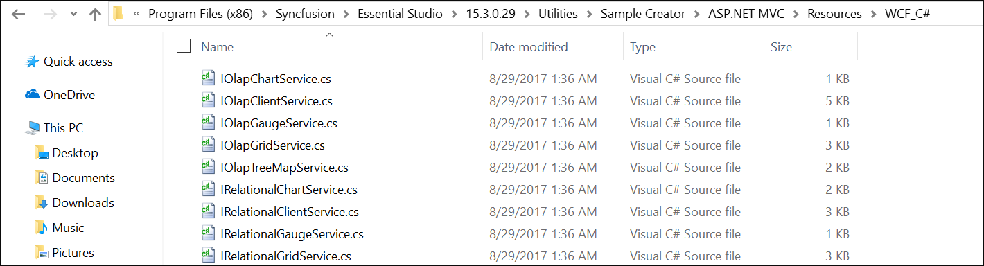 Syncfusion WCF files from Installed Location