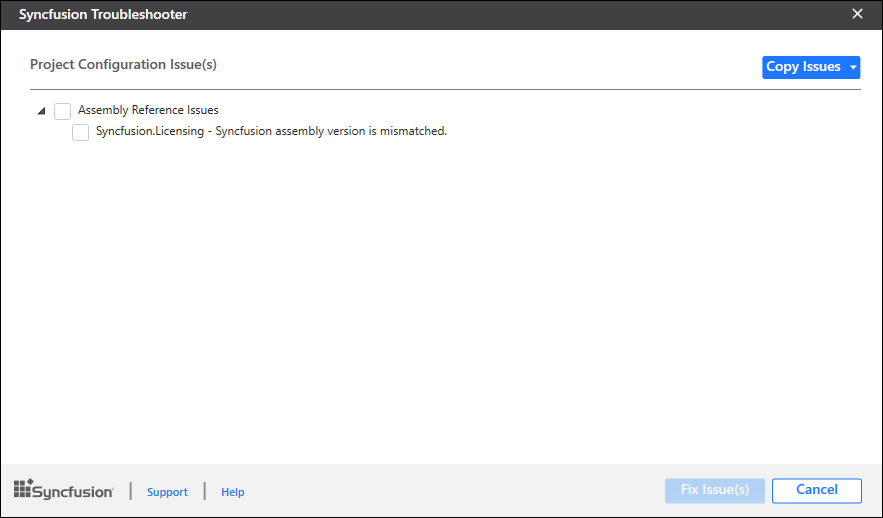 Syncfusion Troubleshooter utility will show assembly version mismatch issue