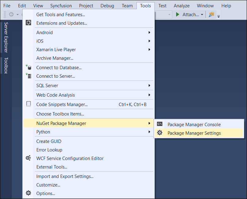 Select Package Manager Settings menu option