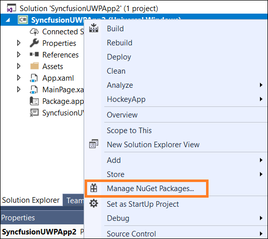 Select Manage NuGet Packages menu option