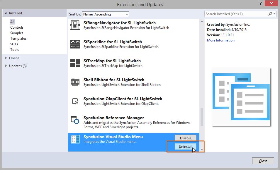 Uninstall the Syncfusion Visual Studio Menu VSIX.
