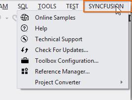 Syncfusion Main Menu from Visual Studio