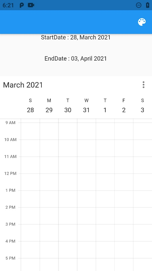 Flutter calendar visible dates