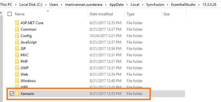Xamarin samples folder path