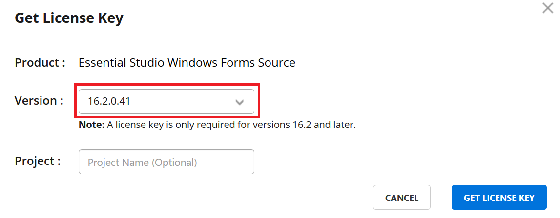 Select the version for which you need to generate the license key.