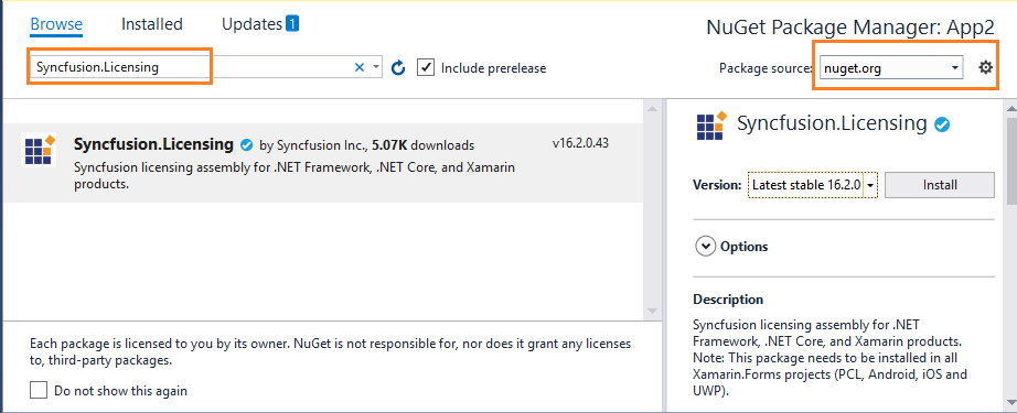 Get Syncfusion.licensing NuGet package from nuget.org