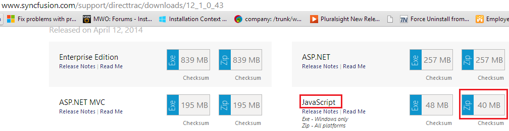 Download the Javascript platform Zip package for required version