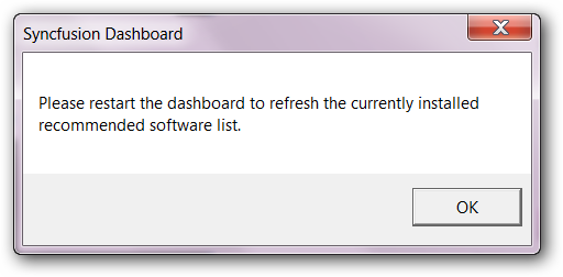 Popup message requesting to restart.