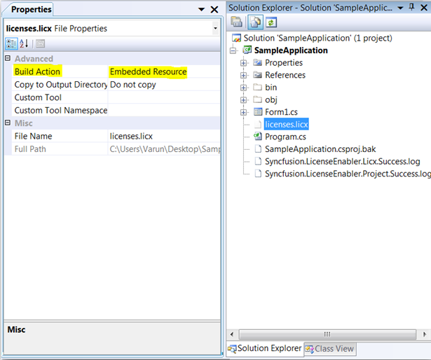 Set the Build Action property as Embedded Resource for licenses.licx file