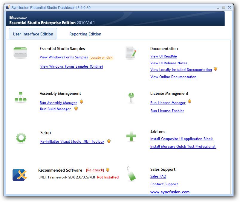 Essential Studio Enterprise Edition Dashboard for UI edition