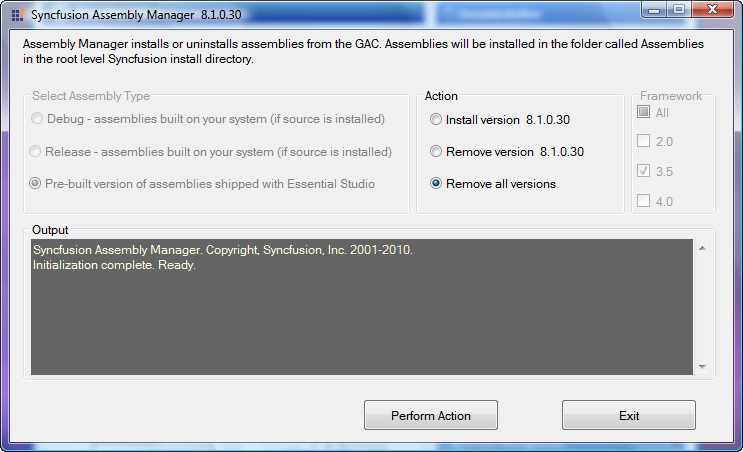 Removing all versions using the Syncfusion Assembly manager