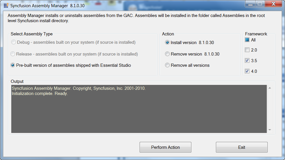 Installing the version 8.1.0.30 for framework 3.5 and 4
