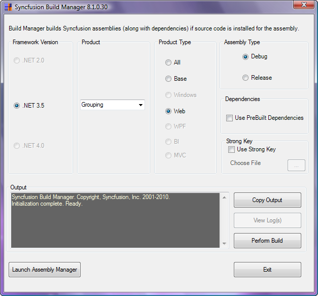 Syncfusion Build Manager window