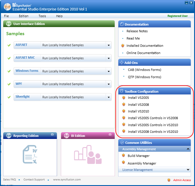 Configuring the toolbox under Toolbox Configuration in the Dashboard