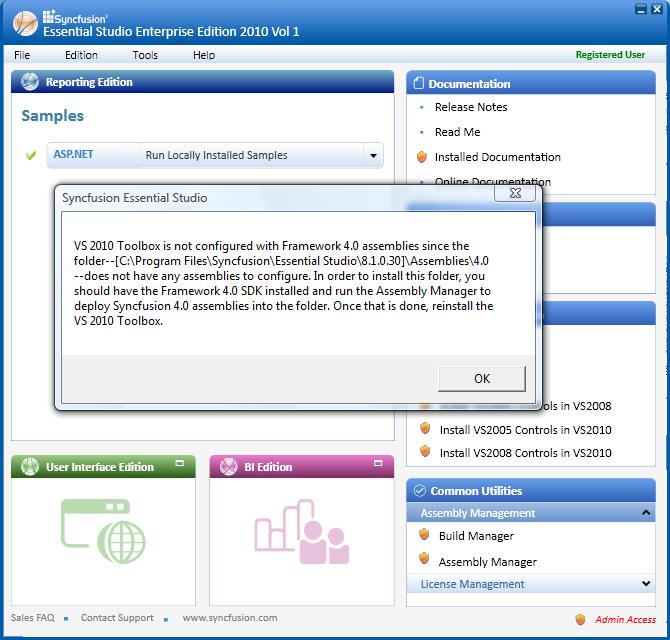 Error message displayed in case 4.0 framework is not configured